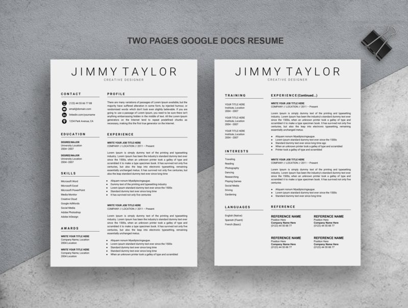 2-Pages-Google-Resume