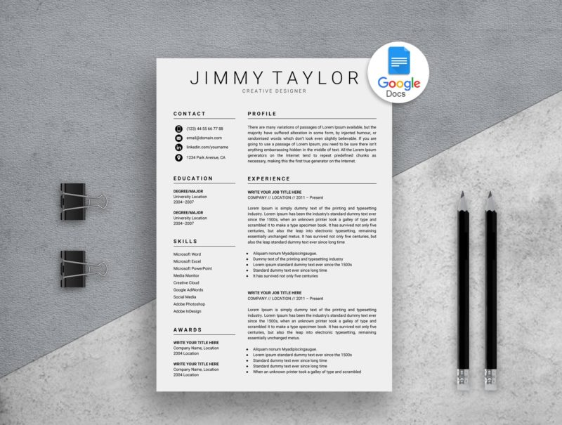 Google Docs Resume Template Instant Download | Resume Market ...