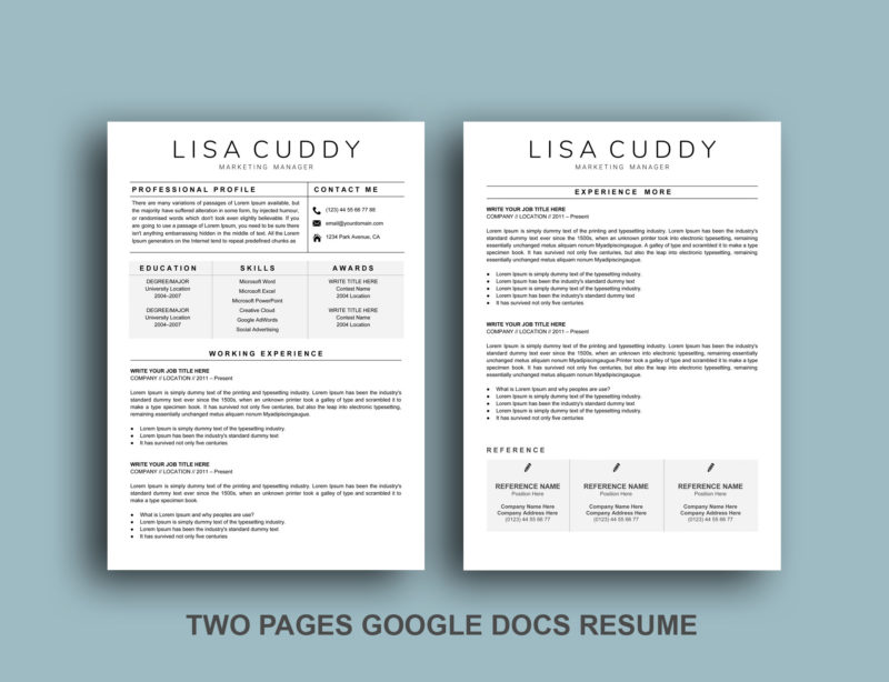 Two-Pages-Google-Docs-Resume