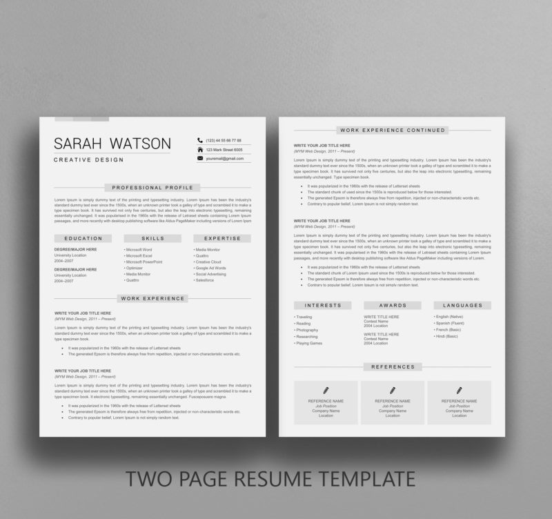 Two Pages Resume Template
