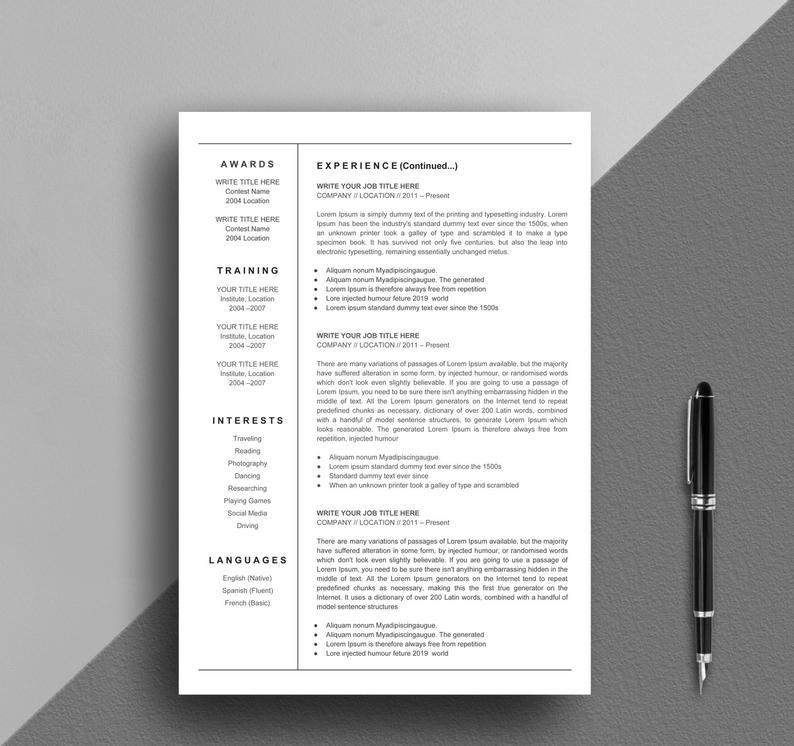 Resume Template Google Docs Creative Simple Instant Download