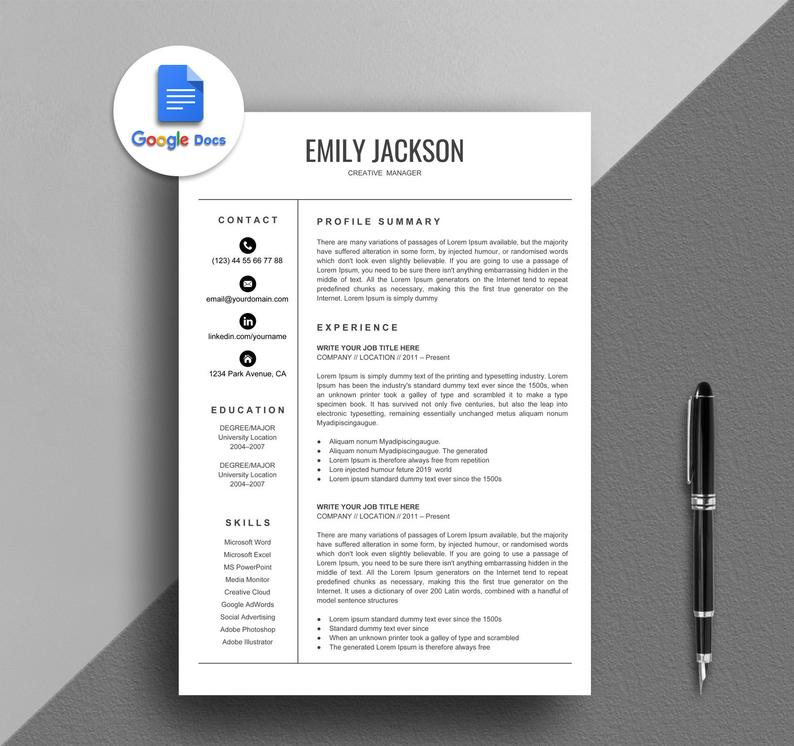 Resume Template Google Docs Resume Creative Google Docs Resume