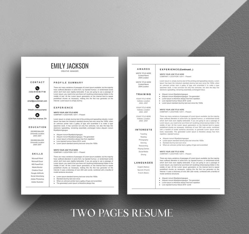 Two Pages Google Docs Resume Format