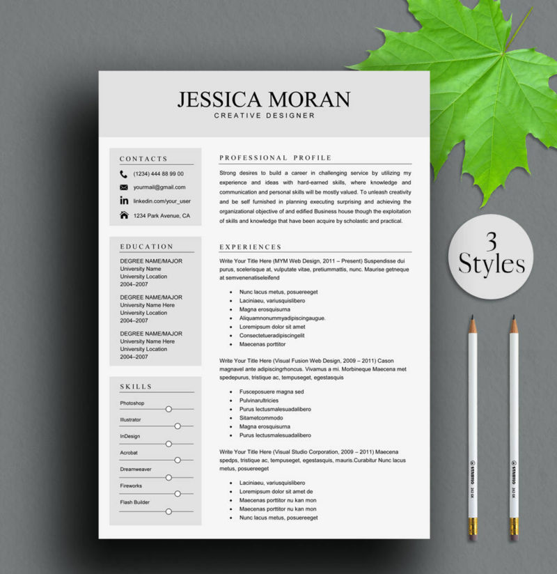 Resume Template For Word And Pages Instant Download 2019001