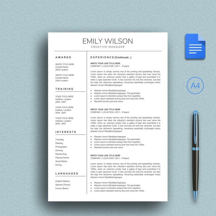Blue Color Google Docs Resume Template Instant Download