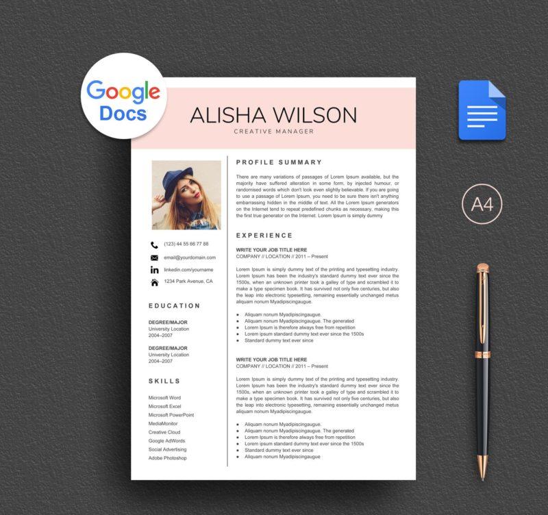 Modern Google Docs Resume Template Download