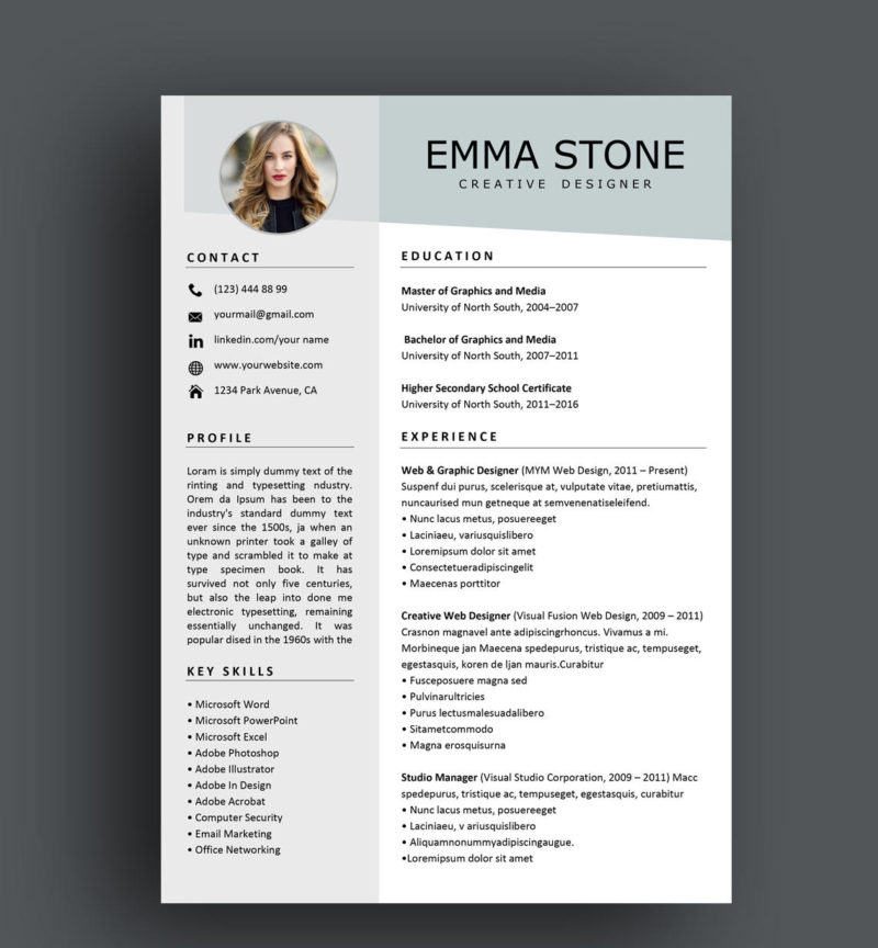 Emma Stone Resume Template Instant Download