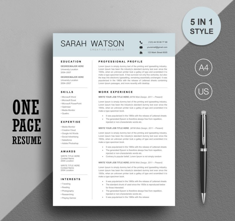 One Page Resume Template Instant Download