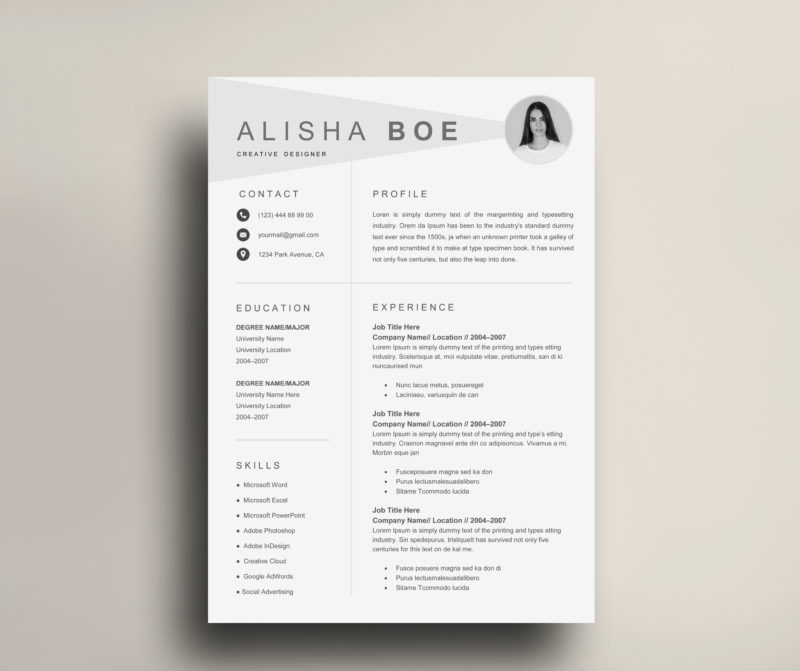Simple Creative Resume Template Cv Template Instant Download