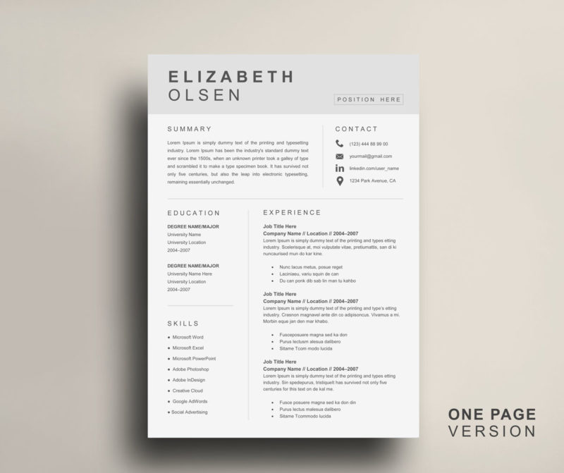 Clean Resume Template For Word Instant Download