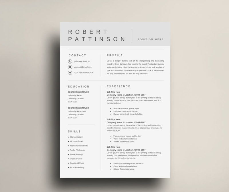 Unique Simple Resume Template Cv Template Instant Download