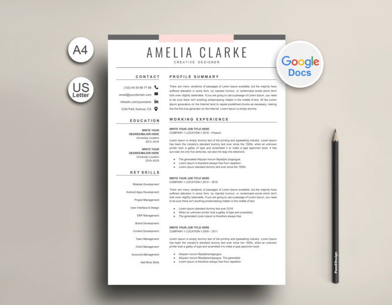 Resume Template Google Docs Instant Download | Resume Market ...