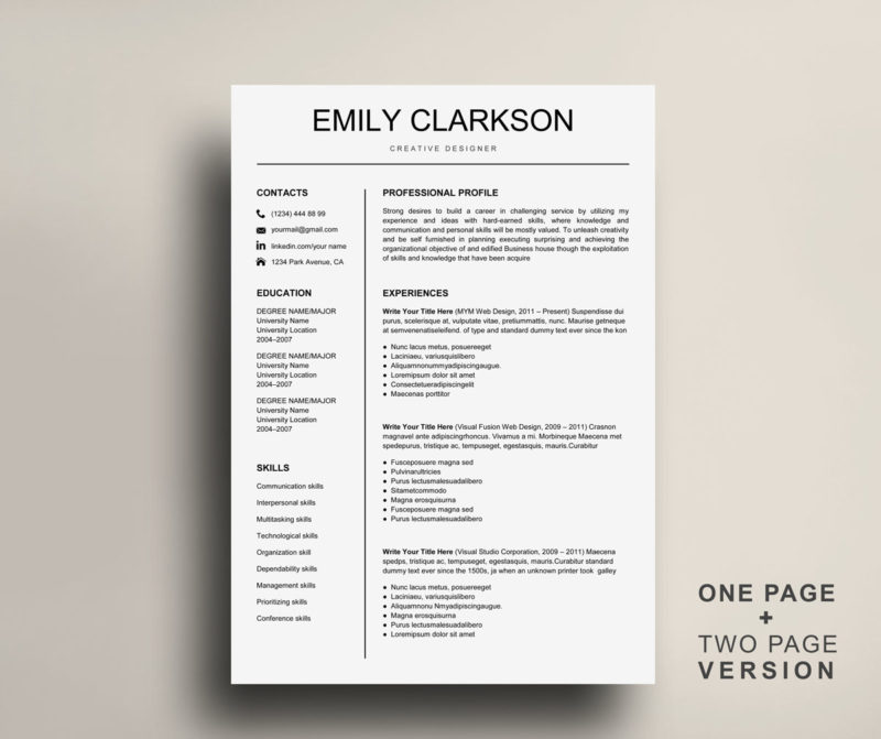 Resume Template for PC and Mac Instant Download