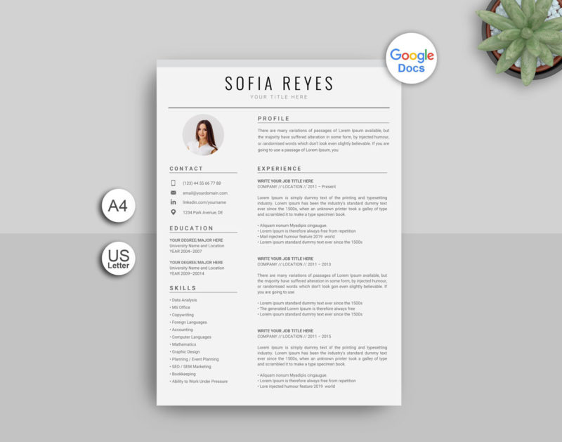 Google Docs Resume Template With Photo Instant Download