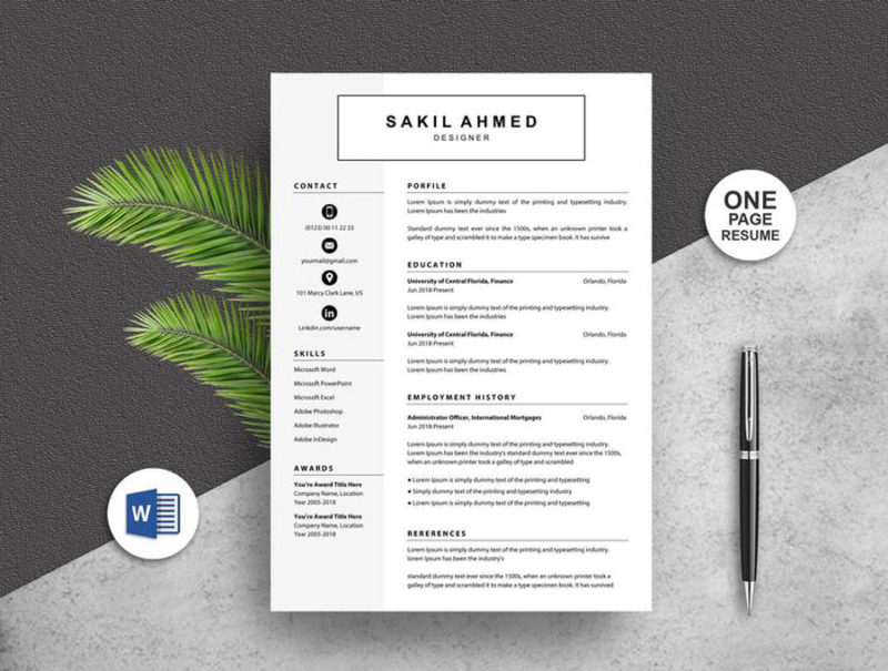 Simple One Page Resume Template Instant Download