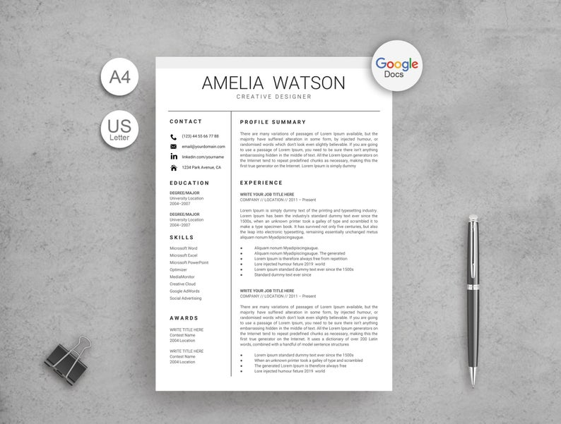 Amelia Watson Google Docs Resume Template